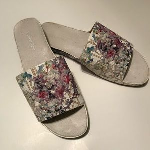 Calvin Klein Floral Sliders, Women's 7.5.